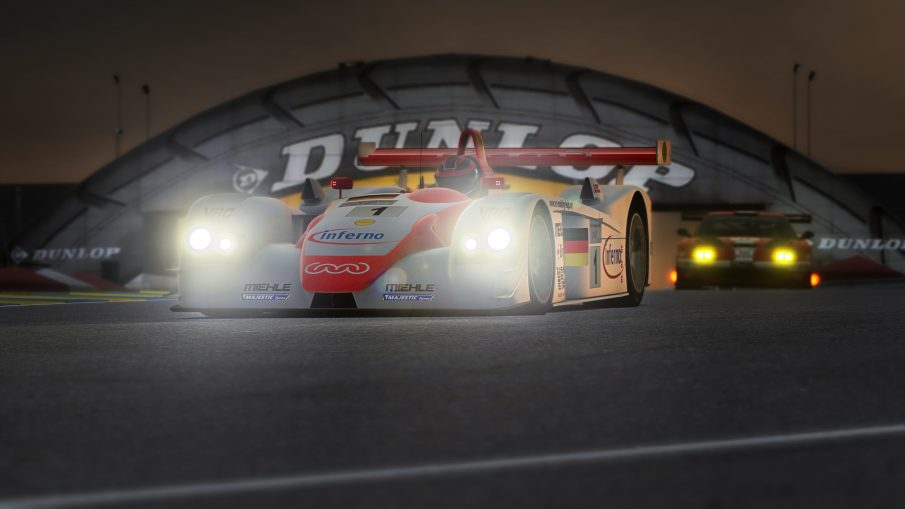 An Audi R8 LMP at Le Mans in the Assetto Corsa racing sim